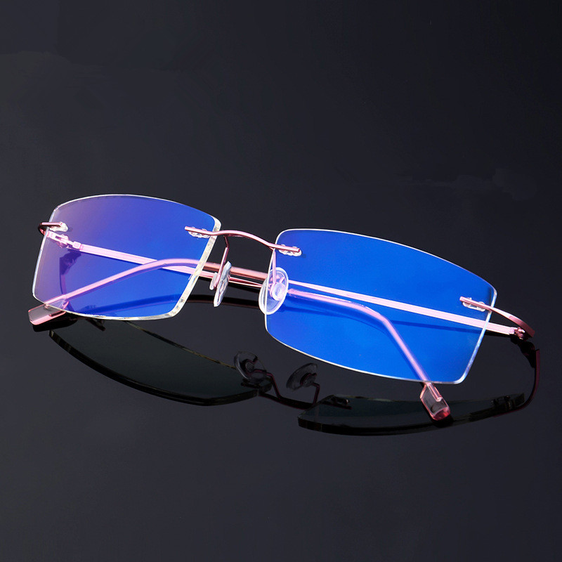 Foldable Titanium Alloy Rimless Anti Blue Light Glasses Frame Male Female Goggles Radiation-resistant Computer Gaming Eyewear