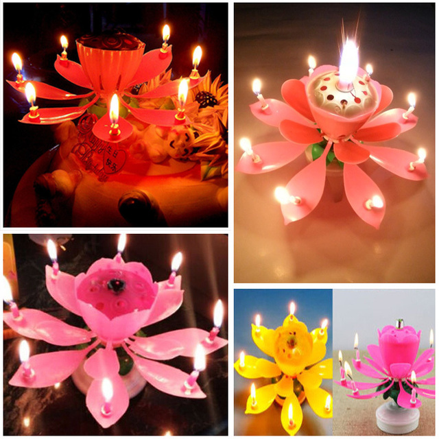 Amazing Romantic Musical Lotus Rotating Happy Birthday Candles Spin Flower Party Gift Sparkler Decorative For