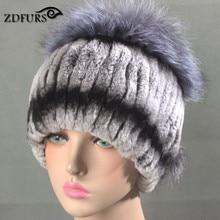 Glaforny 2017 New Women Rex Rabbit Fur Hats with Silver Fox Fur Top Russian Winter Warm Fur Beanies High Quality Stripes