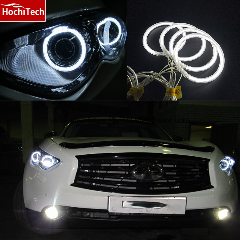 HochiTech WHITE 6000K CCFL Headlight Halo Angel Demon Eyes Kit angel eyes light for Infiniti FX QX70 FX35 FX37 FX50 2009-2013