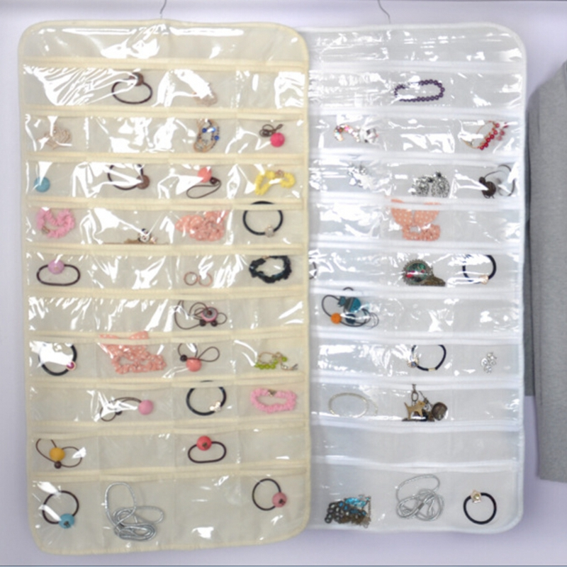 Fahion 80 Pockets Double Side Set Box Hanging Jewelry Organizer