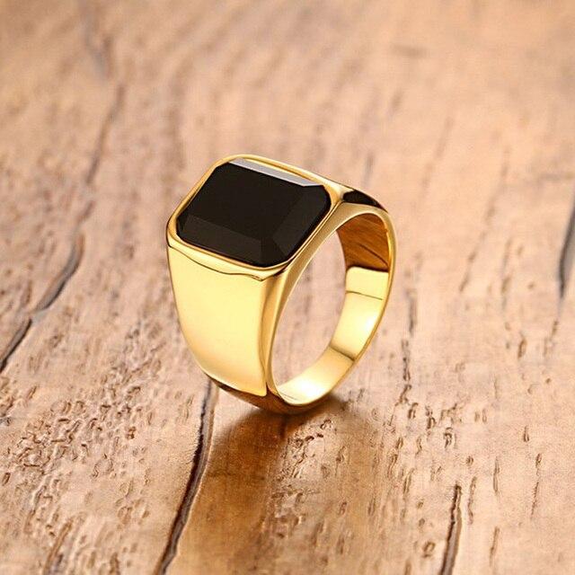 diseño de calidad 27d50 f53e1 € 6.63 40% de DESCUENTO Anillo Signet de acero inoxidable para hombre con  piedra negra para hombre banda de boda joyería de color dorado anel ...