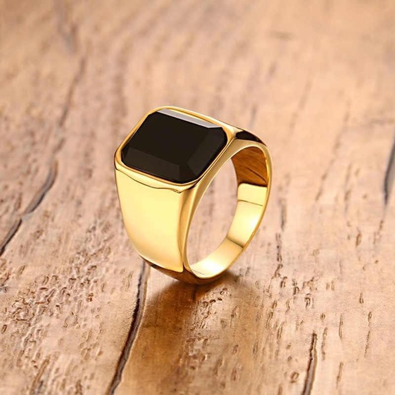fe15682221ab Anillo Signet de acero inoxidable para hombre con piedra negra para ...
