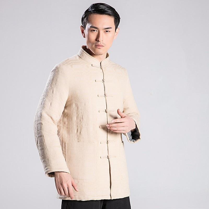 2018 New Pattern Tai Chi Hanfu Tang Costume Linen Cotton Jacket Male  Cotton-padded Wushu Clothing For Winter Only Jacket