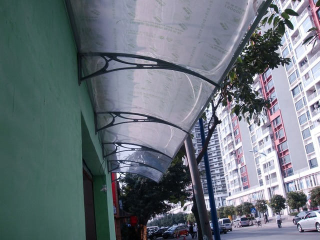 YP100360 100x360cm Customized Awnings,depth 100cm,width 360cm,white bracket with clear polycarbonate canopy,polycarbonate awning