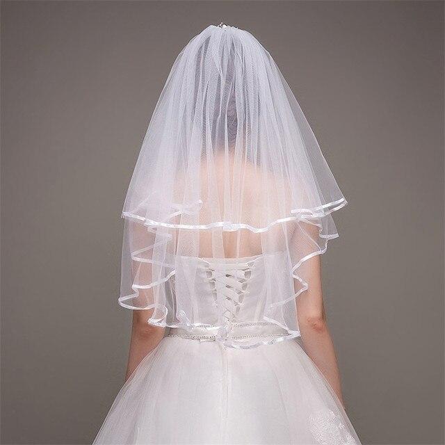 Latest Bridal Veils With Ribbon Edge 2 Layers Elegant White Ivory Short Wedding Accessories Real