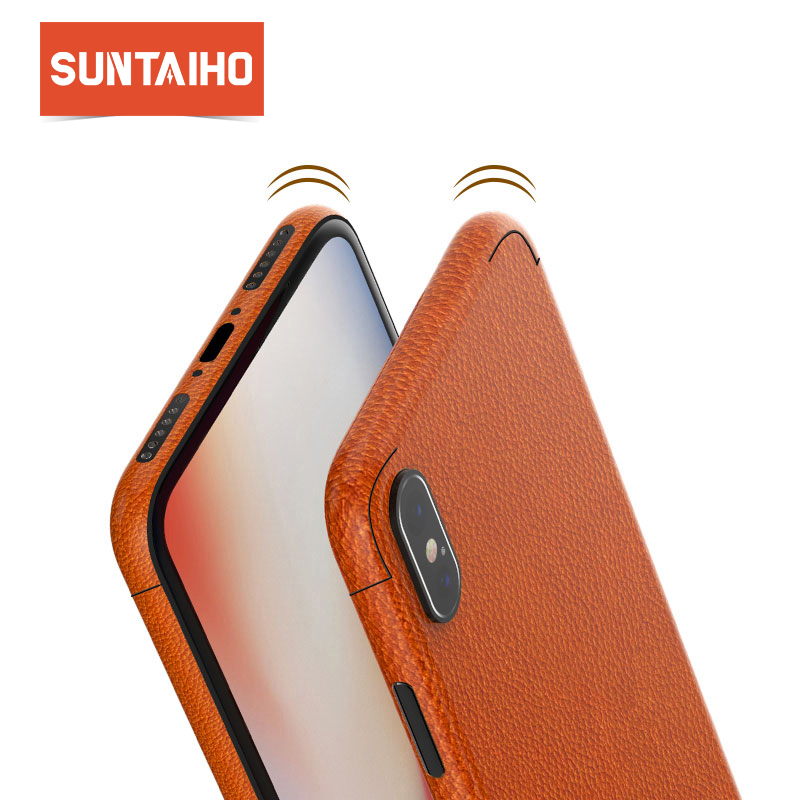 Suntaiho Leather Protective Film skin sticker Case for iPhone X 8 Plus 7 6S Full Edge Coverage for iPhone 7 Plus Cover Case