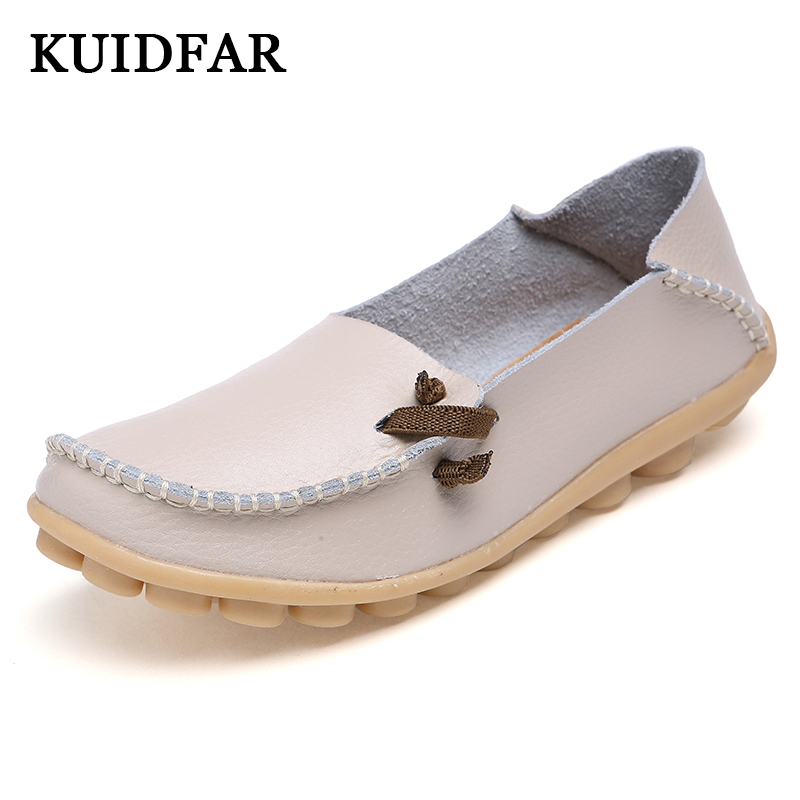KUIDFAR Women Flats Shoes Woman Genuine Leather Shoes Fashion Casual Shoes Lace-up Soft Loafers Moccasins Female Driving Shoes fashion brand genuine leather shoes for women casual mother loafers soft and comfortable oxfords lace up non slip flat moccasins