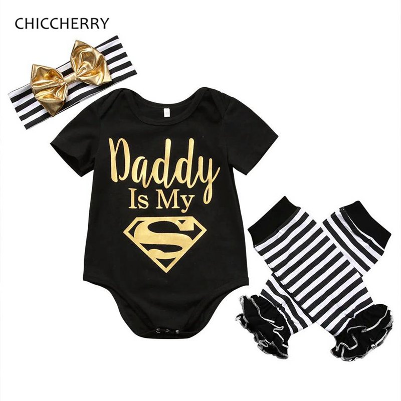 Daddy is My Superman Newborn Girl Clothes Fathers Day Baby Bodysuit + Headband Legwarmers Set Roupa Infantil Overalls for Kids