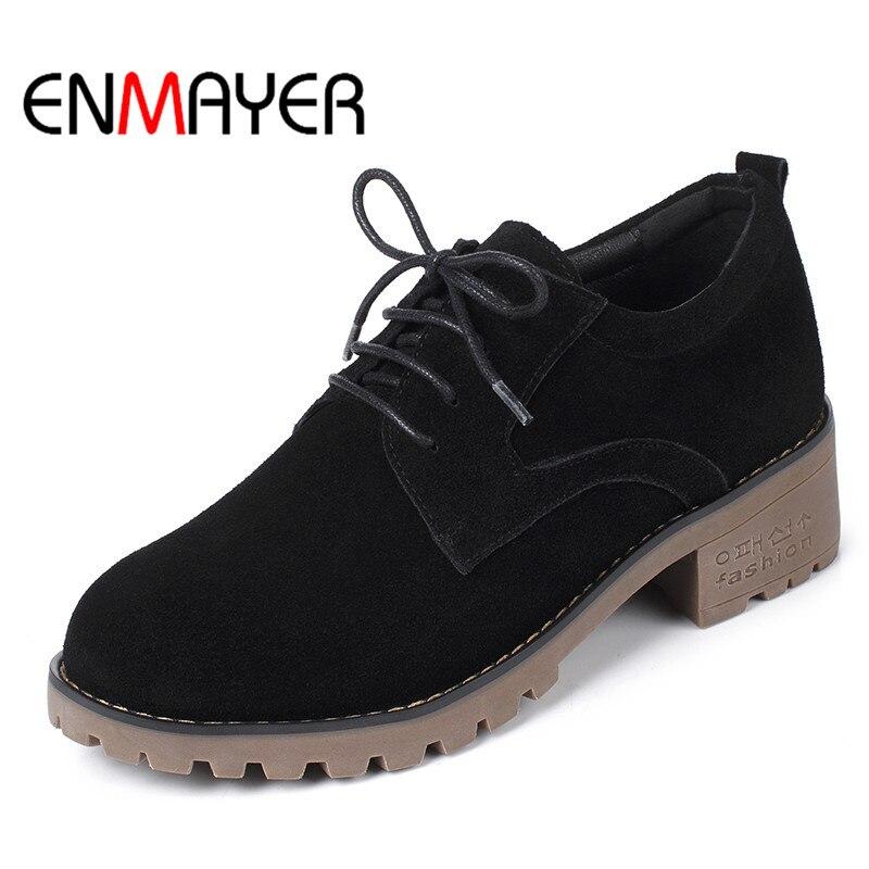 ENMAYER кружево-вверх женщины обувь мелкий Твердый ботинки осень/весна флок черный зеленый круглый toe квартиры для Леди рабочая обувь больших размеров