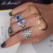 New Bohemia Retro Silver Alloy Opal Crystal Fingers Ring Sets for Women Jewelry Geometric Midi Knuckle Rings Set Bague Femme new 13pcs set bohemia retro metal purple crystal knuckle midi fingers rings set for women geometric vintage rings sets jewelry