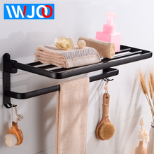 цена на Towel Rack Hanging Holder Foldable Aluminum Bathroom Shelves with Hook Single Towel Bar Black Wall Mounted Corner Shelf Storage