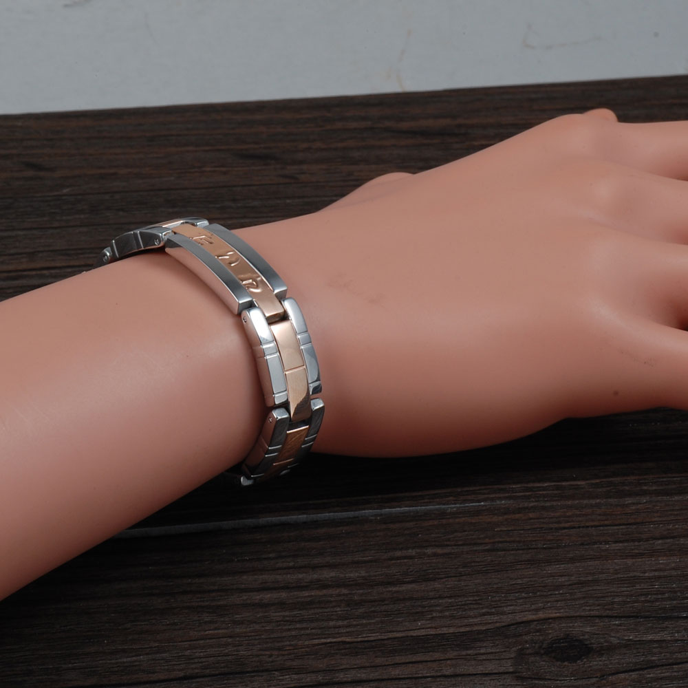Wollet Rose Gold Color Jewelry Tourmaline Magnets Negative Ion Infrared Germanium Women Men Titanium Bracelet High Quality 20Cm
