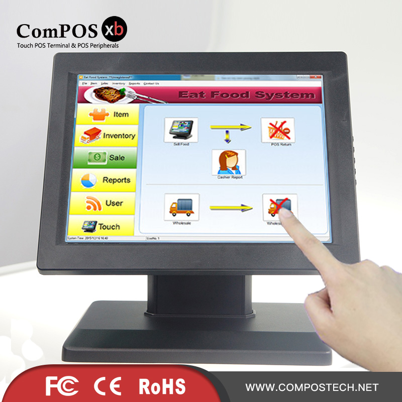 Metal monitor stand 12 inch LCD touch screen Mall monitor cash register display zk101tc v59d 10 1 inch 1080p hd metal shell embedded open frame free drive ten point capacitive touch monitor lcd screen display