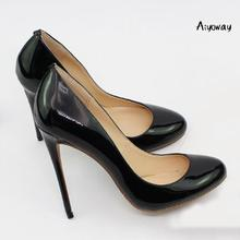 Aiyoway 2019 Women Shoes Ladies Round Toe High Heels Pumps Autumn Spring Work & Career Shoes Slip-On Patent Leather Black Nude 2017 new spring fashion women s wedges single shoes round toe work formal shoes patent leather bow pumps single shoes v746