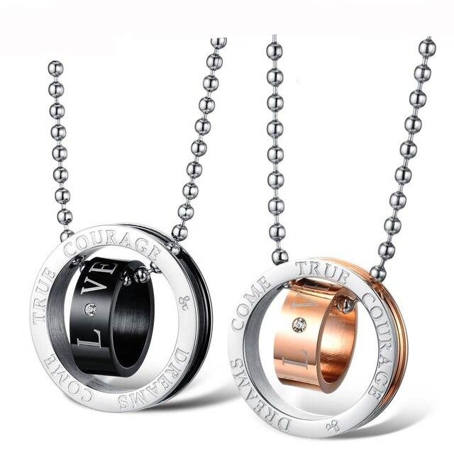 9b8396df89c1 Amor de Oro Collares de Cadena de Acero inoxidable para Parejas de Corea  Moda para Mujer