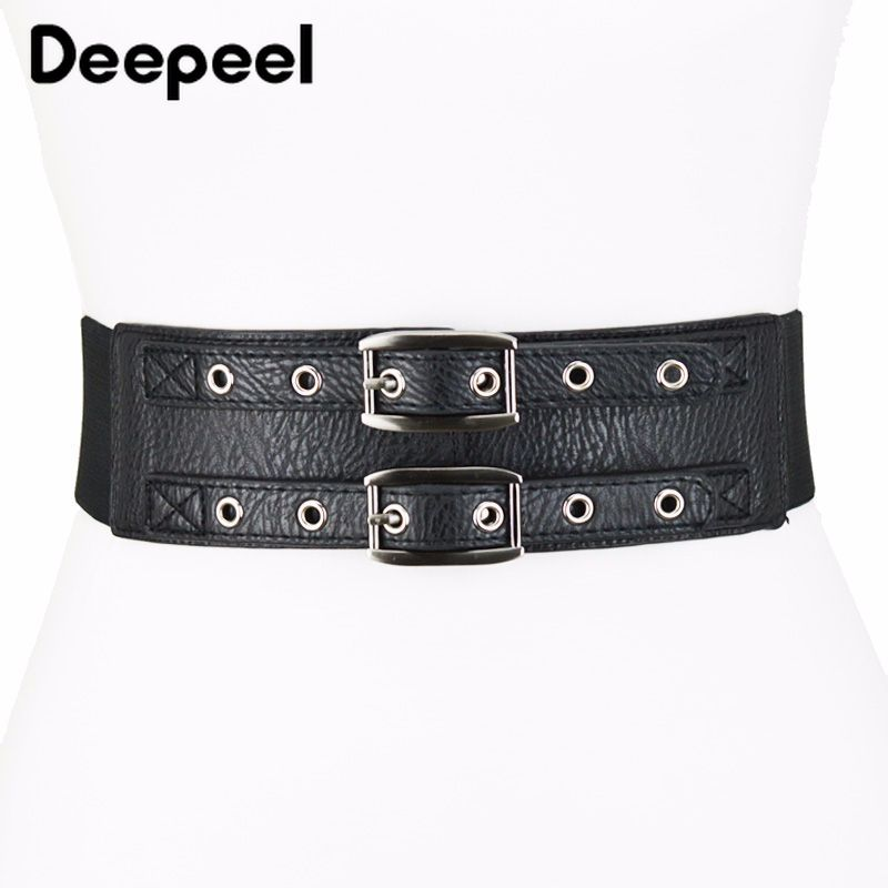 Deepeel 1pc Simple Double Row Pin Buckles Elastic PU Cummerbunds Fashion Female Wide Belt Dress Costume Decoration Band CB025