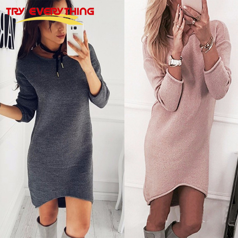 Try Everything Pink Slim Sweater Dress Winter Round Neck Sexy Bodycon Long Sleeve Midi Dress For Women 2017 Solid Vestido Casual