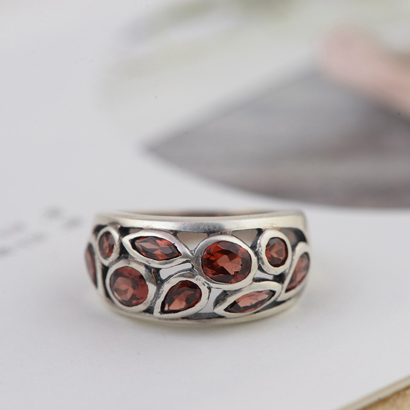 Genuine Solid Silver 925 Ring Antique Garnet Stone Women Jewelry Natural Stone Resizable Fine Jewelry Anello DonnaGenuine Solid Silver 925 Ring Antique Garnet Stone Women Jewelry Natural Stone Resizable Fine Jewelry Anello Donna