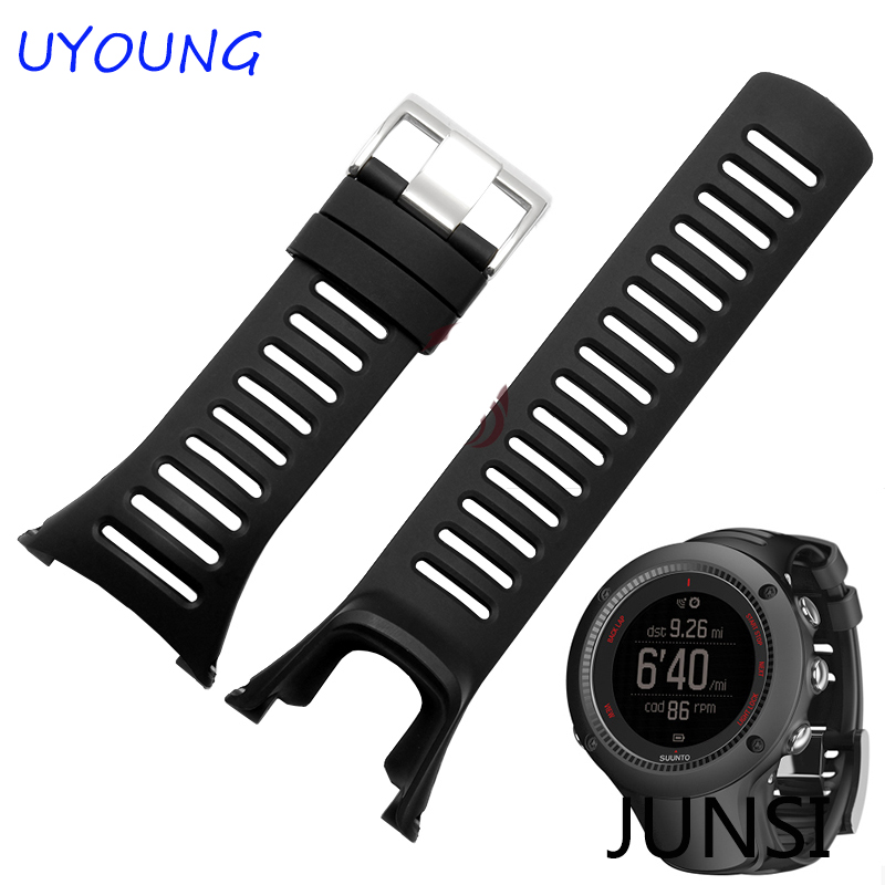 SUUNTO Ambit 1 2 3 2R 2S Men Watch s Waterproof Rubber Strap Watchband Steel Buckle