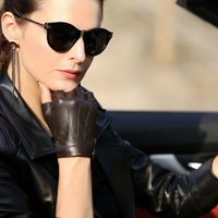 Fashion Unisex Leather Mittens Wrist Lambskin Genuine Leather Gloves Men Women Fingerless Leather Gloves Dance Street