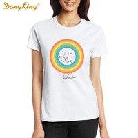 2017 Moda Um Feliz Leão T-shirt Da Novidade Estilo Criativo Hip Hop T-Shirt Curtos das Camisas Para Unisex das Mulheres Dos Homens Partes Superiores Legal Tee