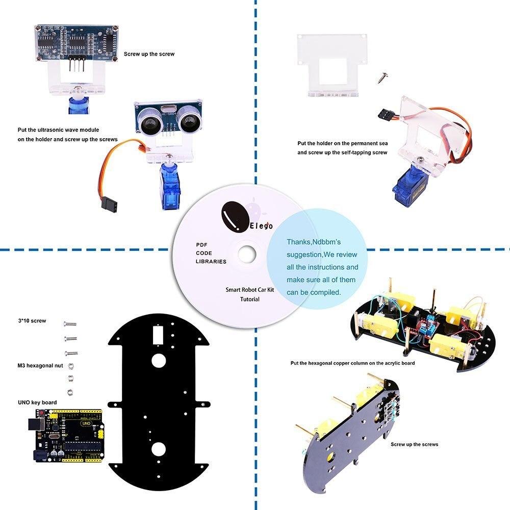 Kit de voiture Robot intelligent projet UNO pour Arduino UNO R3, capteur à ultrasons, module Bluetooth, ect voiture jouet éducatif avec CD - 2
