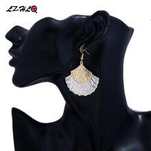 LZHLQ Vintage Drop Earrings Bohemia Double Layer Metal Pattern Sector Leaf Earrings Women 2017 Fashion Brand Jewelry Accessories