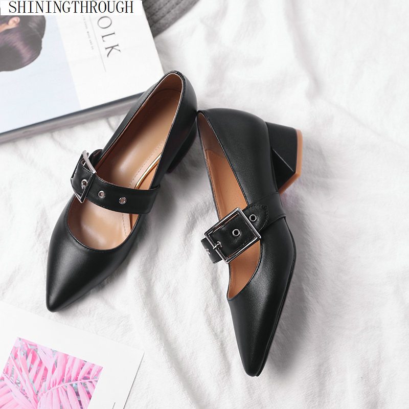 Womens 4cm med Heels Genuine Leather Pumps Sexy Ladies mary janes Wedding Party Shoes Woman Sweet Female Office PumpsWomens 4cm med Heels Genuine Leather Pumps Sexy Ladies mary janes Wedding Party Shoes Woman Sweet Female Office Pumps