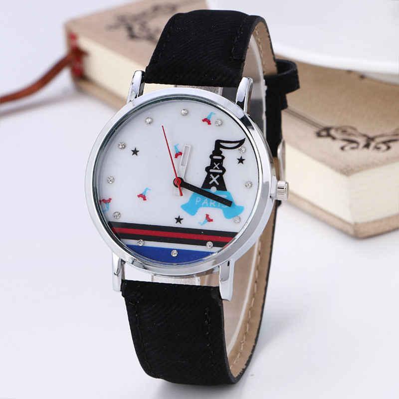 Stylowe Unisex zegarki kwarcowe mężczyźni zegarki sportowe Denim tkaniny kobiet zegarek