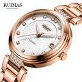 Классические женские часы RUIMAS  автоматические часы из нержавеющей стали с розовым циферблатом  механические часы с автоматической датой дл...