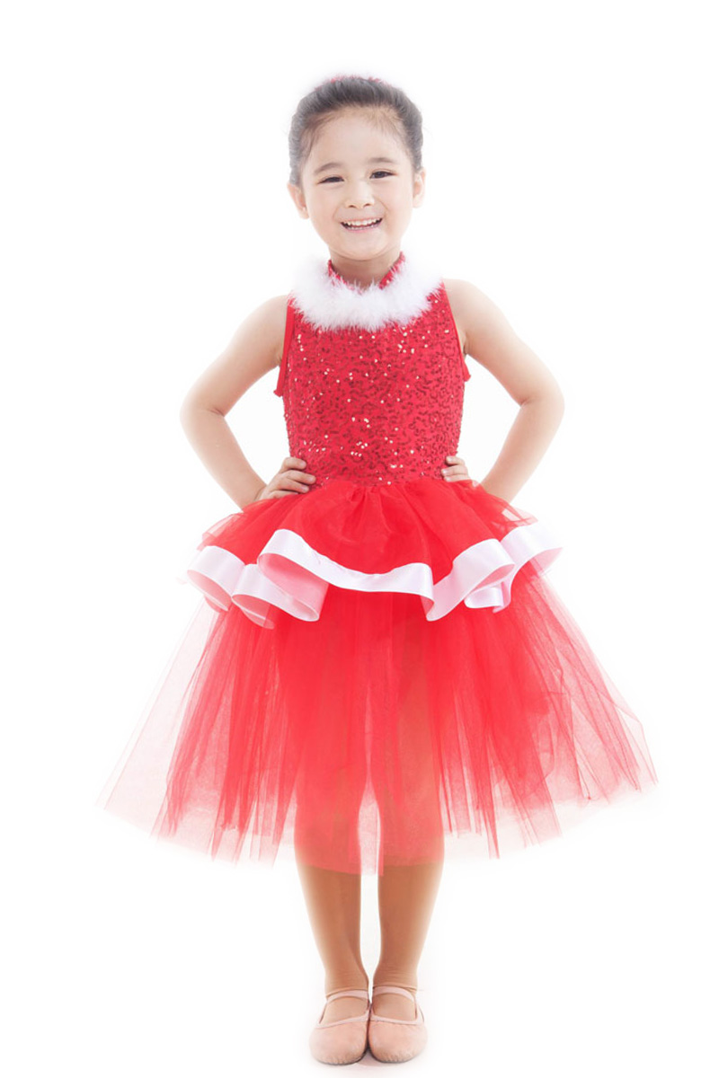 red long dress Kids Christmas Dress quality Child Ballet Dress Female Dance Leotard Costume Clothes girls ballerina dress