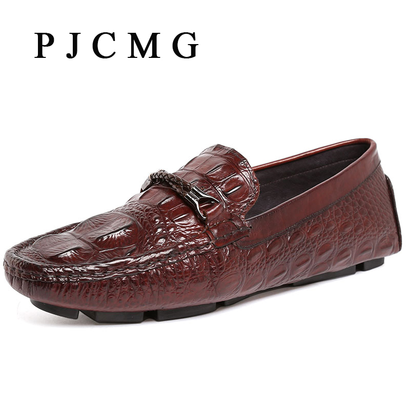 ФОТО PJCMG New Crocodile Moccasins Men Genuine Embossed Leather Breathable Lazy Casual Flats Loafers Driving Business Men Flat Shoes