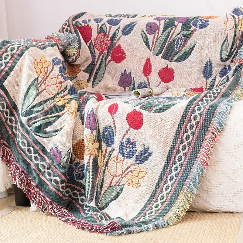 Floral Blanket For Sofa Living Room Bedroom Rug Yarn Dyed