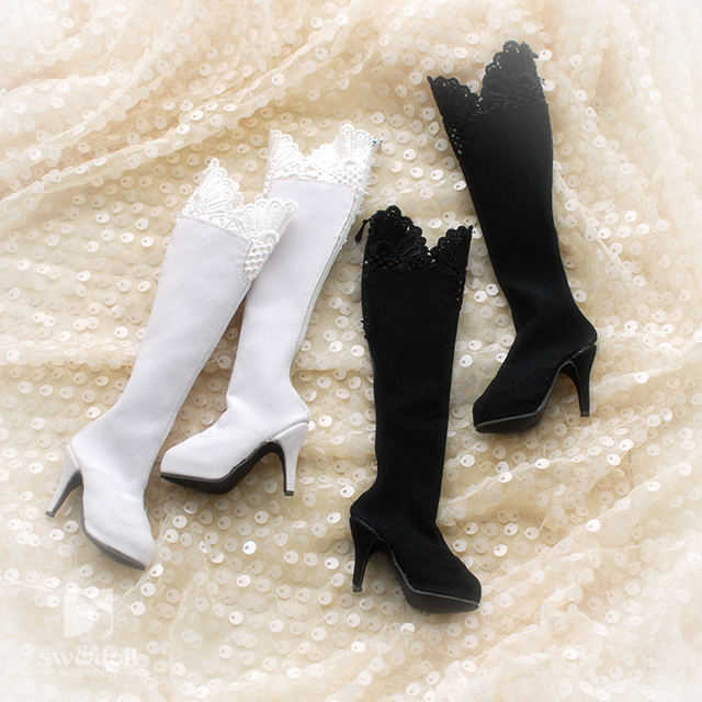 Pretty Lace High Heel Boots for BJD Girl  SD16 SD13 SD10 DD DY Doll Shoes SW44