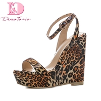 DoraTasia 2018 Large Size 34 41 Wedge High Heels Women sandal shoes Leopard Print Shoes Woman Platform summer sandals