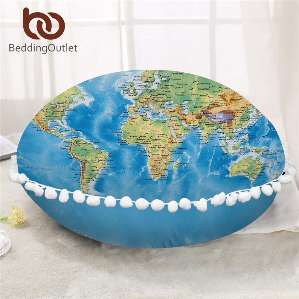 BeddingOutlet World Map Round Pillow Cover Vivid Printed Blue Cushion Cover On Floor Cozy Microfiber Fabric Pillow Case For Bed