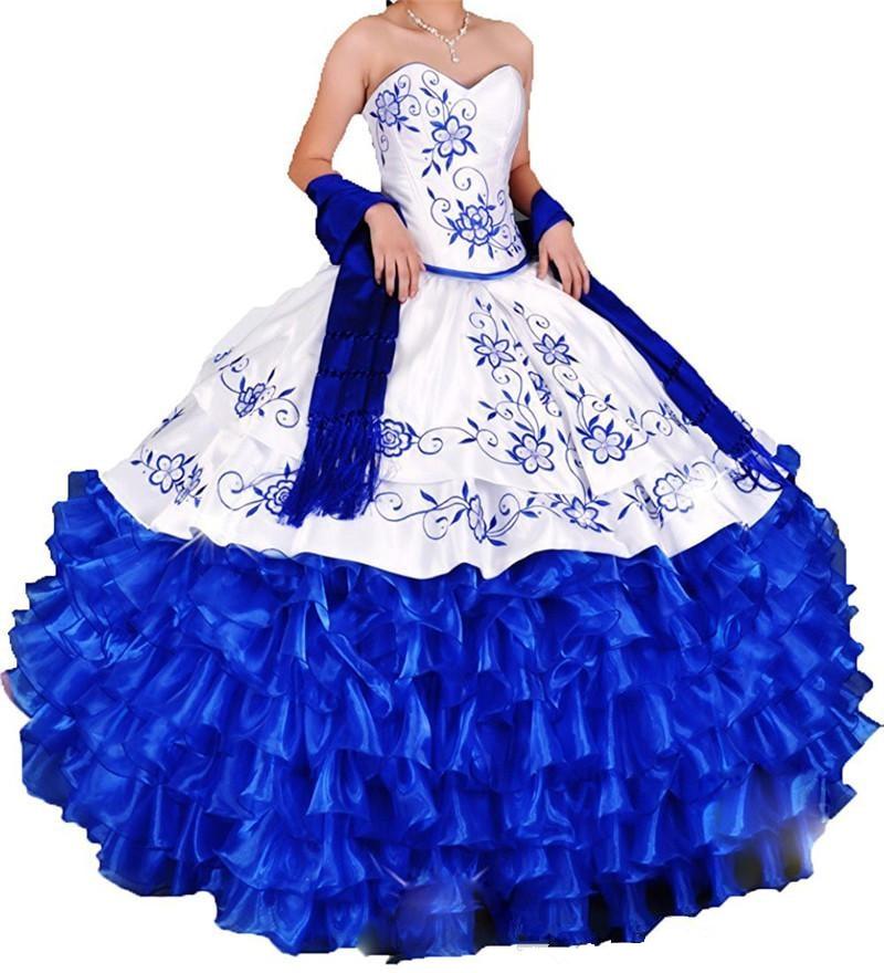 fb2c4fe54 Bealegantom 2018 White Royal Blue Ball Gown Quinceanera Dresses Embroidery  Sweet 16 Dress Vestidos De 15 Anos QA1538-in Quinceanera Dresses from  Weddings ...
