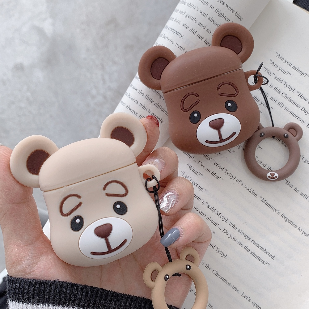 Finger Ring Strap Cartoon Bear Headphone Cover Soft Silicone Earphone Case For Apple Airpods 1 2 Wired Wireless Charging Box