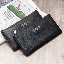 Business Cow genuine leather slim men long wallet High Quality zipper thin phone purse vintage soft man clutch coin monry pocket