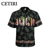 Brand Beach Shirt Men S Hawaiian Shirt Palm Surfboard Fancy Dress Shirts For Men Cotton Plus