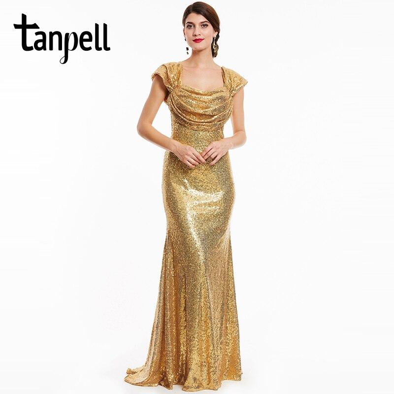 Tanpell long evening dresses luxurious golden women square collar short sleeves floor length straight gown formal evening dress