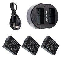 DMW BLC12 BLC12E BLC12PP BLC12 Batteries 3 Pack USB Dual Charger For Panasonic Lumix FZ1000 FZ200