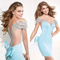 Sexy Cocktail Dresses Women 2019 Light Blue Rhinestone With Pearls Sparkly Above Dress