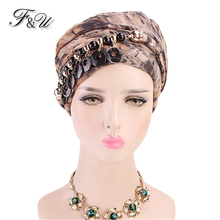 F&U Ethnic Style Women Kerchief Colorful Printing With Acrylic Necklace Muslin Lady Polyester Hair Scarf 6 Colors Available
