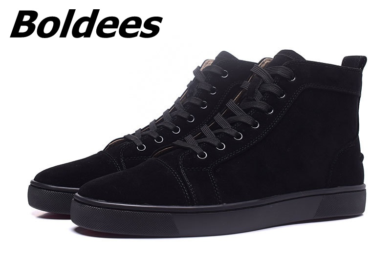 Boldees Classic Suede Men Shoes High Top Black Luxury Brand Lace Up Sneakers Shoes Men Zapatos Hombre Casual Flats Gym Sneakers