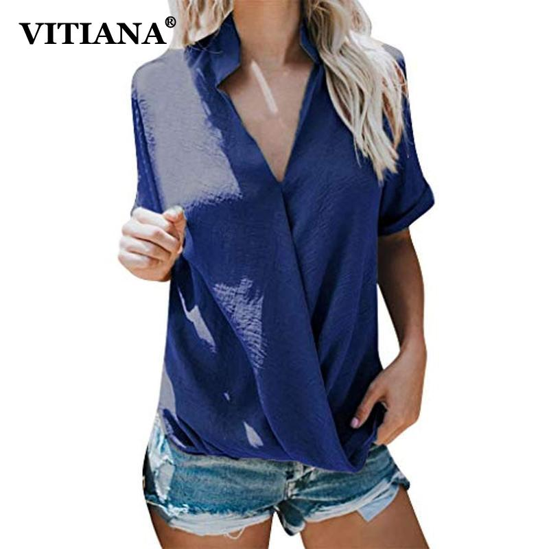 VITIANA Women Casual Chiffon Beach Blouse Summer 2019 Female Black Short Sleeve Stand V-Neck Streetwear Womens Tops and Blouses