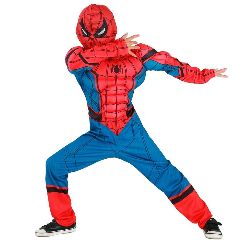 New Design <font><b>Deluxe</b></font> Child Homecoming <font><b>Muscle</b></font> <font><b>Spiderman</b></font> Cosplay Clothing Boys Marvel Superhero Movie Character Halloween <font><b>Costume</b></font>