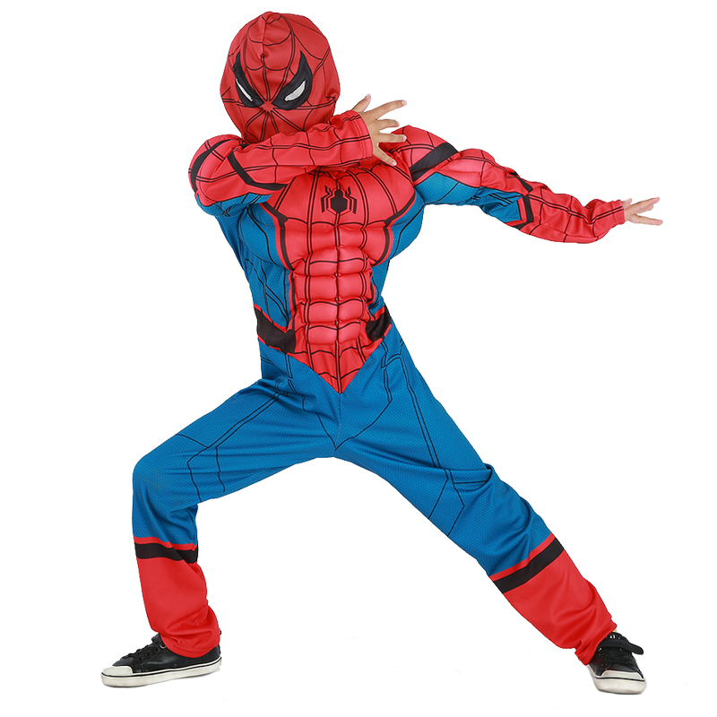 New Design <font><b>Deluxe</b></font> <font><b>Child</b></font> Homecoming Muscle <font><b>Spiderman</b></font> Cosplay Clothing Boys Marvel Superhero Movie Character Halloween Costume