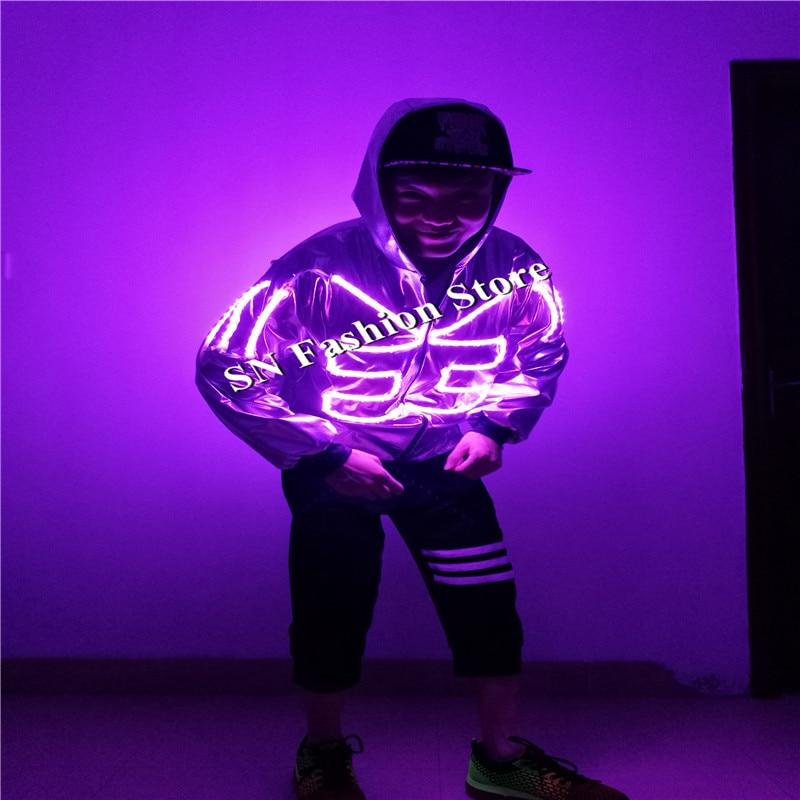 ΞSS5-2 hip-hop LED iluminado trajes salón de baile danza fantasma ...